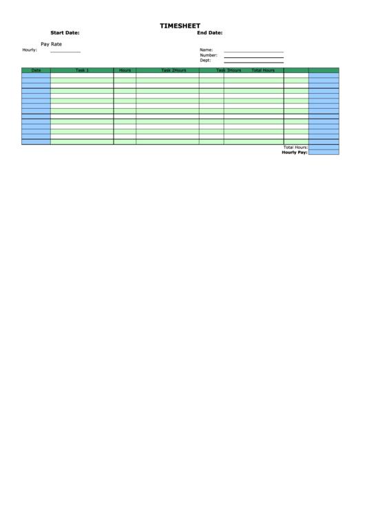 Bi-weekly Horizontal Time Sheet - By Task