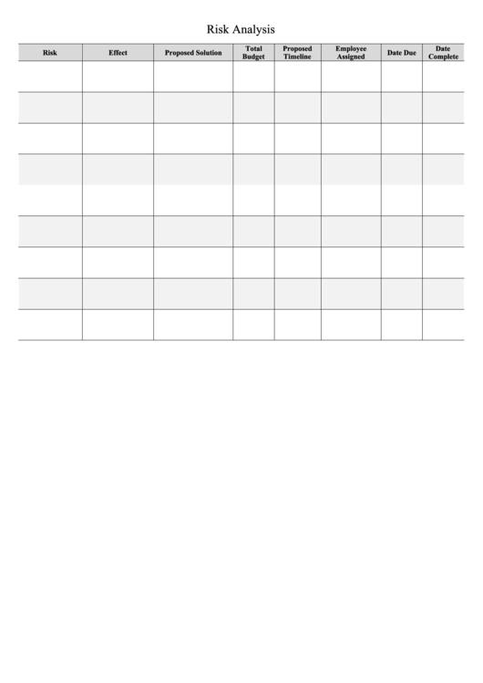 Business Plan Template: Risk Analysis Printable pdf