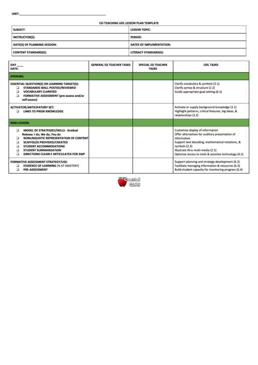 Co - Teaching Udl Lesson Plan Template