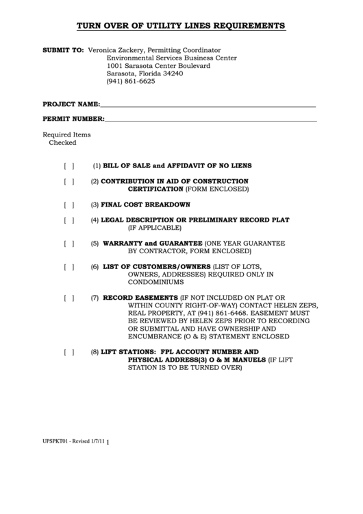 Turn Over Of Utility Lines Requirements Bill Of Sale