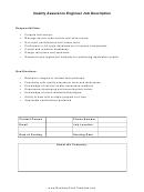 Quality Assurance Engineer Job Description