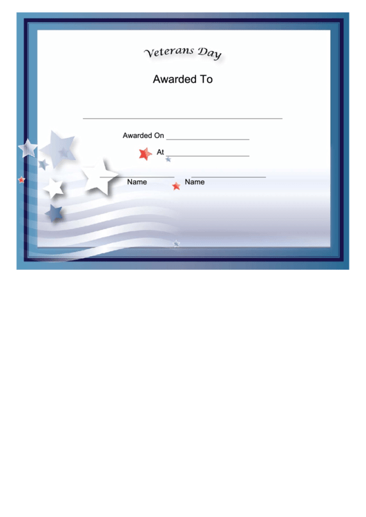 Veterans Day Holiday Certificate