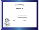 Fathers Day Holiday Certificate