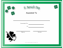 St Patrick's Day Holiday Certificate Template