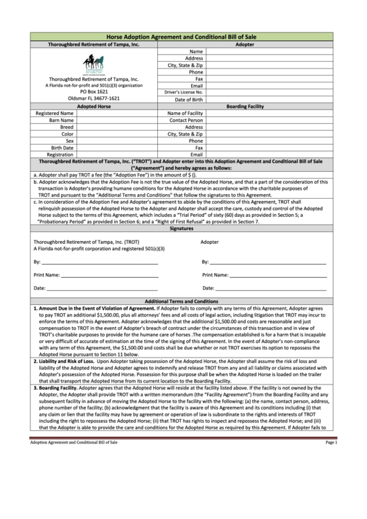 Horse Adoption Agreement And Conditional Bill Of Sale