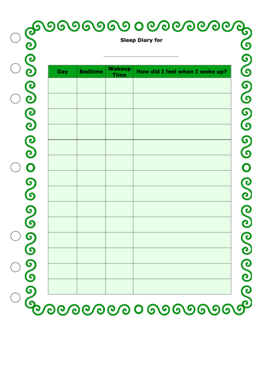Sleep Diary Template Printable pdf