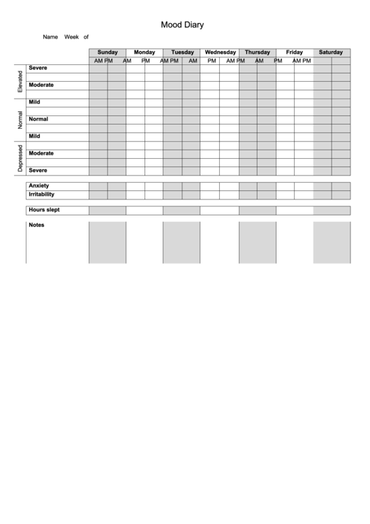 Medical Mood Diary Template