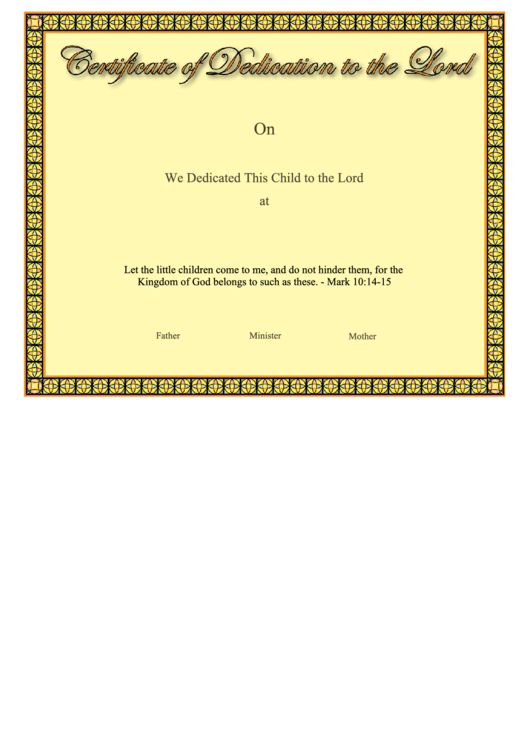 Certificate Of Dedication To The Lord Printable Pdf Download