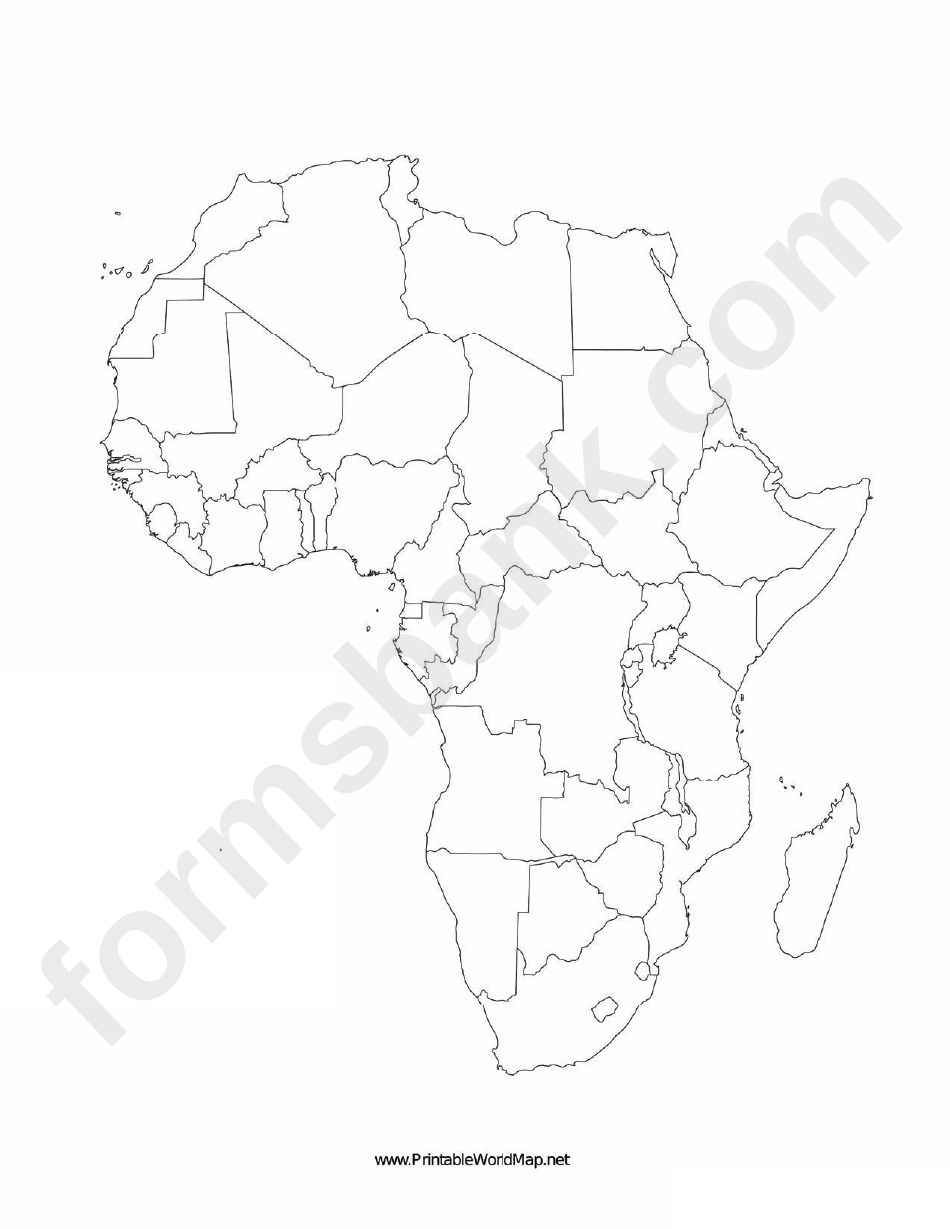 photograph about Blank Map of Africa Printable known as africa map template -