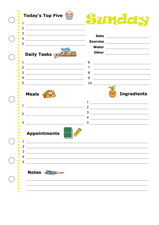 Daily Planner Template: Sunday Printable pdf