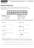 Brahmi Numerals - Math Worksheet With Answers
