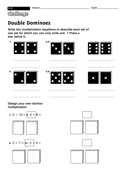 Double Dominoes - Multiplication Worksheet With Answers