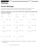 Secret Message - Multiplication Worksheet With Answers