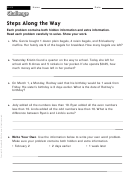 Steps Along The Way - Math Worksheet With Answers