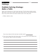 Problem-solving Strategy: Make A Table - Math Worksheet With Answers