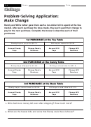 Problem-solving Application: Make Change - Math Worksheet With Answers