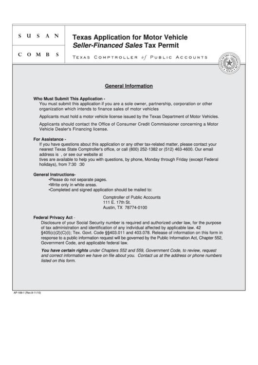 fillable form ap 169 texas application for motor vehicle seller financed sales tax permit. Black Bedroom Furniture Sets. Home Design Ideas