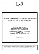 Form L-9 - Affidavit Of Resident Decedent Requesting Real Property Tax Waiver(s) - State Of New Jersey Department Of The Treasury