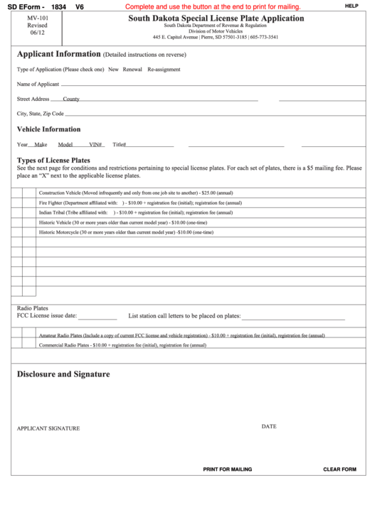 Fillable Sd Eform 1834 V6 - South Dakota Special License Plate Application Printable pdf