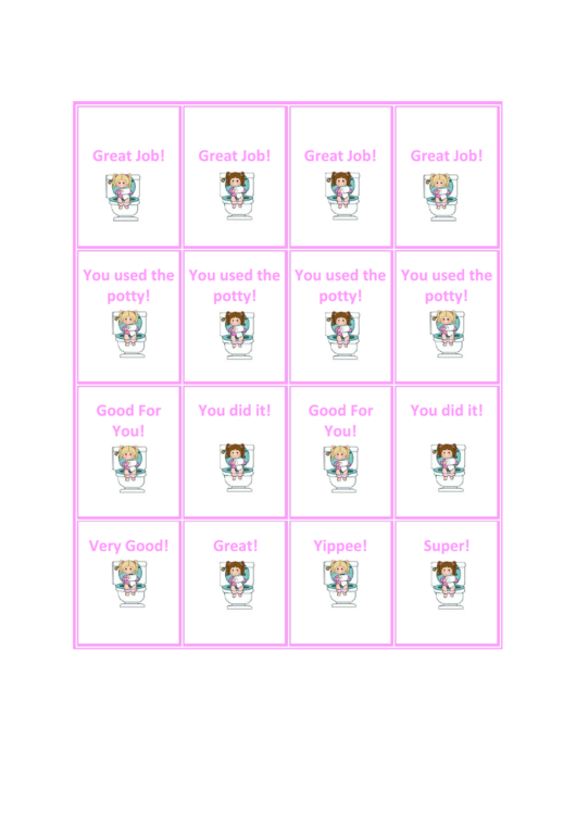 Girl Potty Reward Coupons Template