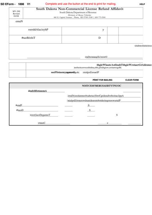 Fillable Sd Eform 1898 V1 - South Dakota Non-Commercial License Refund Affidavit Printable pdf