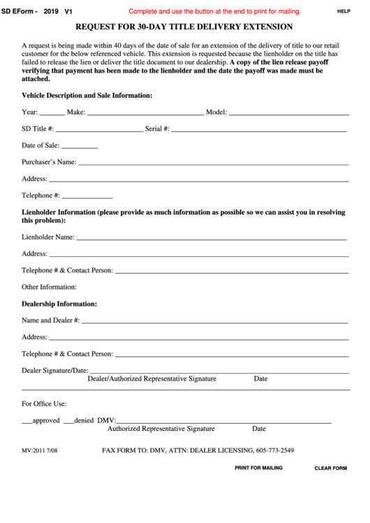 Fillable Sd Eform 2019 V1 - Request For 30-Day Title Delivery Extension Printable pdf