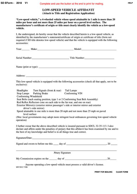 Fillable Sd Eform 2018 V1 - Low-Speed Vehicle Affidavit Printable pdf