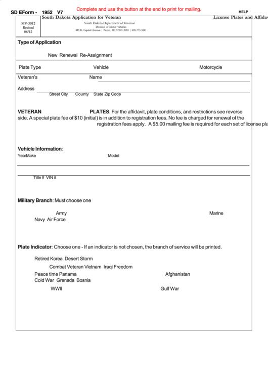 Fillable Sd Eform 1952 V7 - South Dakota Application For Veteran And Active Duty Military Member License Plates And Affidavit Printable pdf