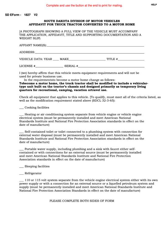 Fillable Sd Eform 1827 V2 - Affidavit For Truck Tractor Converted To A Motor Home Printable pdf