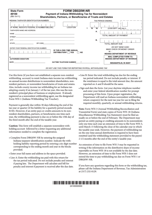 Form Db020w-nr - Payment Of Indiana Withholding Tax For Nonresident Shareholders, Partners, Or Beneficiaries Of Trusts And Estates