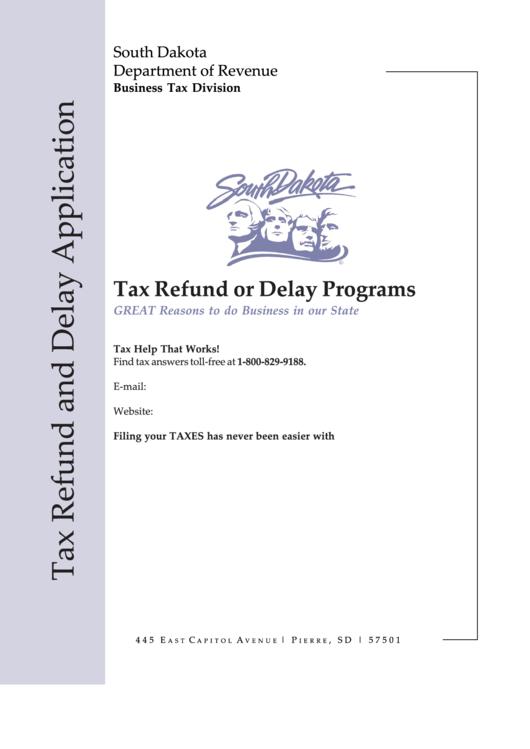 Fillable Sd Eform 1974 V3 - Tax Refund Or Delay Programs Printable pdf