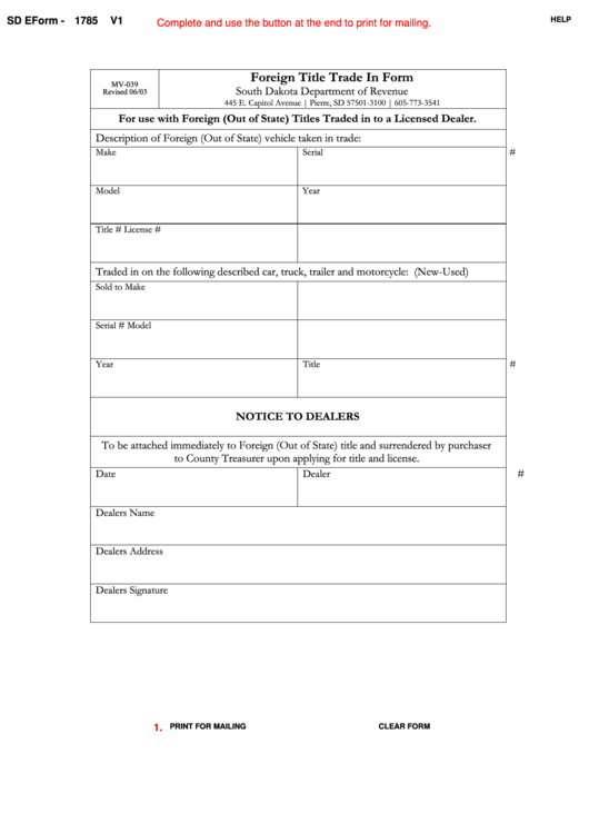 Fillable Sd Eform 1785 V1 - Foreign Title Trade In Form Printable pdf