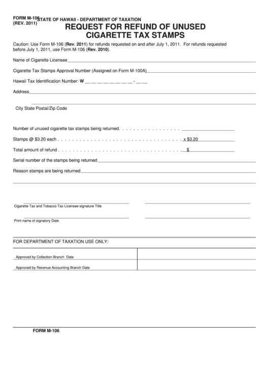 Fillable Form M-106 - Request For Refund Of Unused Cigarette