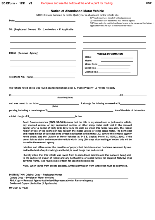 Fillable Sd Eform 1791 V3 - Notice Of Abandoned Motor Vehicle Printable pdf