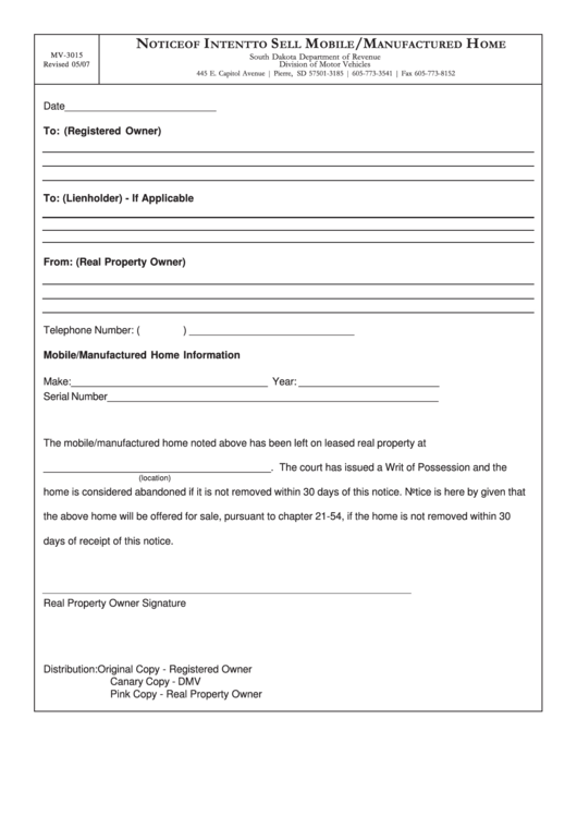 Form Mv-3015 - Notice Of Intent To Sell Mobile/manufactured Home Printable pdf