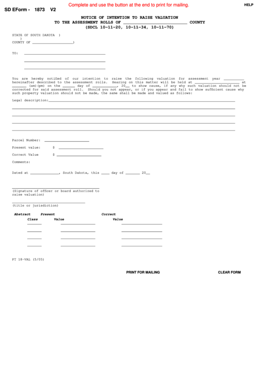 Fillable Sd Eform 1873 V2 - Notice Of Intention To Raise Valuation To The Assessment Rolls Printable pdf