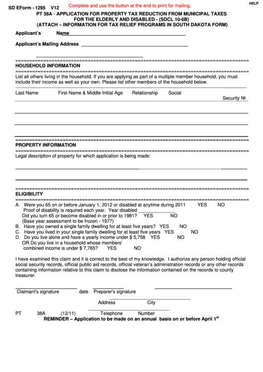Fillable Sd Eform 1295 V12 - Application For Property Tax Reduction From Municipal Taxes For The Elderly And Disabled Printable pdf