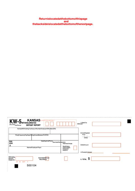 Fillable Form Kw-5 - Kansas Withholding Tax Deposit Report Printable pdf