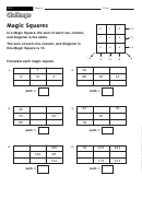 Magic Squares - Math Worksheet With Answers