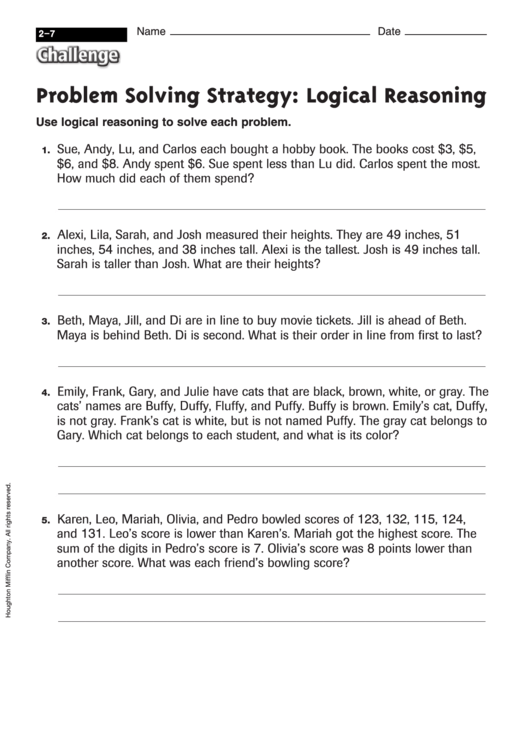 Problem Solving Strategy Logical Reasoning Math Worksheet With