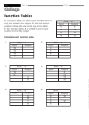 Function Tables - Math Worksheet With Answers