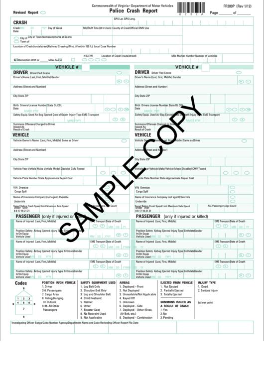 Sample Form Fr300p - Police Crash Report printable pdf download
