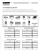 A Shopping Spree! - Math Worksheet With Answers