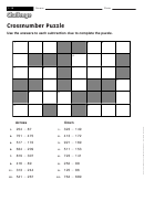 Crossnumber Puzzle - Math Worksheet With Answers