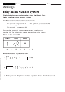 Babylonian Number System - Math Worksheet With Answers