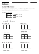 Same Difference - Math Worksheet With Answers