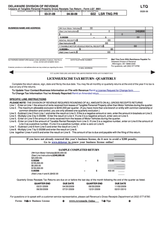 Fillable Form Lq7 9801 Lessors Of Tangible Personal Property Gross Receipts Tax Return Delaware