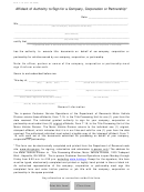 Form T-19 - Affidavit Of Authority To Sign For A Company, Corporation Or Partnership