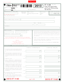 Form It 1140 - Pass-through Entity And Trust Withholding Tax Return - 2013