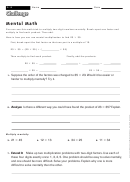 Mental Math - Math Worksheet With Answers